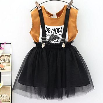 Children Clothing 2019 Summer Toddler Girls Clothes T-shirt+Skirt 2pcs Kids Clothes Sport Suit Tracksuit For Girls Clothing Sets