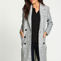 Grey Double Breasted Wool Boyfriend Coat