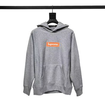 "Supreme Embossed Logo Hooded ""Grey"""