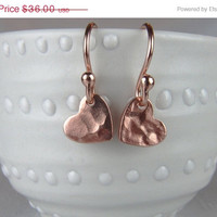 ON SALE Tiny Rose Gold Hammered Heart Earrings / Petite Rose Gold Heart Charm Earrings / Valentines Gift / Everyday Jewelry by Oakre