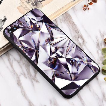 Diamond pattern Glass texture mobile phone case for iPhone X 7 7plus 8 8plus iPhone6 6s plus -171212