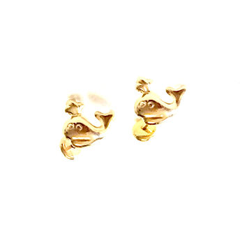 Happy whale 18kts Gold Plated Earrings Studs