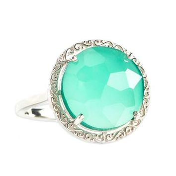 Suzanne Kalan Sterling Silver 12mm Round-Cut Green Onyx Filigree Bezel Ladies' Ring
