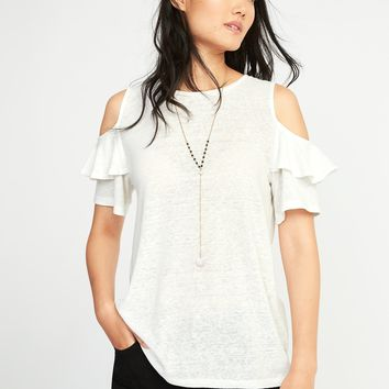 Relaxed Linen-Blend Cold-Shoulder Top for Women | Old Navy