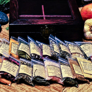 Wicca Starter Kit, Witch Box Wiccan Herbs Set, Magical Herbs with Elemental Box Wiccan Altar Set, Witchcraft Supply, Pagan Occult