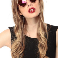 Fuchsia Heart Chain Sunglasses