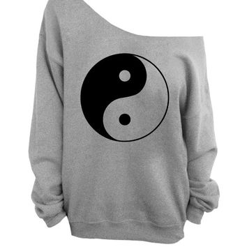 Yin Yang - Gray Slouchy Oversized CREW Sweater