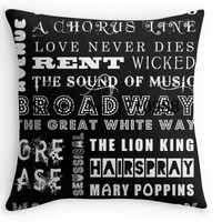 Broadway Logo Pillowcase Square Invisible Zip Pillow Cover