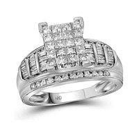 14kt White Gold Women's Princess Diamond Cluster Bridal Wedding Engagement Ring 2.00 Cttw - FREE Shipping (US/CAN) - Size 10
