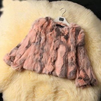 Real Rabbit Fur Winter Women Short Fur Coat Plus Size Jacket Warm Coat Female Round Neck Outerwear 2017 New Fashion