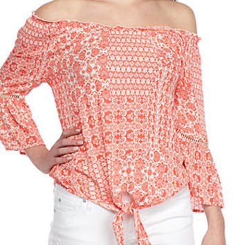 Eyeshadow Tie Front Off-The-Shoulder Patchwork Blouse