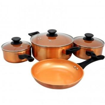 Sunbeam Larson 7 Piece Cookware Set in Metallic Copper