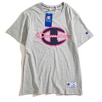 Champion Summer Fashion New Bust Letter Print Couple Sports Leisure T-Shirt Top Gray