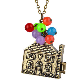 s Lovely movie balloon house up Necklace love Movie choker Necklace colorful beads Pendant Necklace  SM6