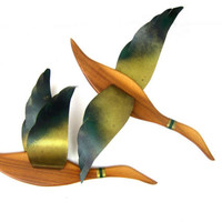 Pair of Geese Birds Wall Sculpture Art Metal Birds Wall Art Home Decor Green & Gold Ranch Home Decor Flying Wood Wooden Birds