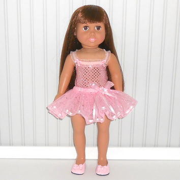 18 inch Doll Clothes Pink Dance Outfit with Sequin Leotard and Ribbon Tutu American Doll Clothes