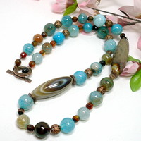 Sky Blue Fire Agate, Natural Bulls Eye Agate Gem OOAK Copper Necklace
