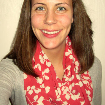 Great Fuchsia Color with a Floral Pattern, Homemade, Infinity Scarf.