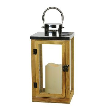 """13.75"""" Country Rustic Wood and Glass Lantern with LED Flameless Pillar Candle with Timer"""