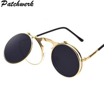 2019 New Flip Up Steampunk Sunglasses Men Round Vintage Mens Sunglass Brand Designer Fashion Glasses UV400