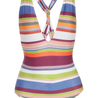 Lenny Niemeyer - Striped plunge swimsuit