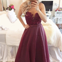 Modern A-line Evening Gown  Beadings Burgundy Prom Dress 2016 Zipper Button Back Party Dresses Customed Floor-Length Sweetheart