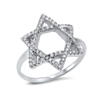 Cubic Zirconia Star Of David Designer Ring Sterling Silver