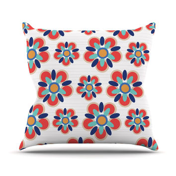 "Jolene Heckman ""Red Folksy"" Red Teal Outdoor Throw Pillow"