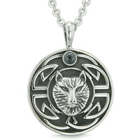 Amulet Courage Wisdom Wolf and Ancient Viking Celtic Knot Simulated Black Onyx Pendant 18 Inch Necklace