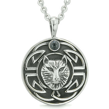 Amulet Courage Wisdom Wolf and Ancient Viking Celtic Knot Simulated Black Onyx Pendant 22 Inch Necklace