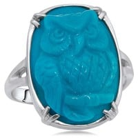 875 Silver Ring with Turquoise, Cameo