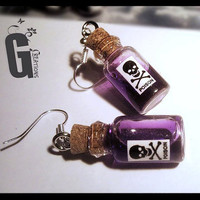 "Miniature ""Poison"" Bottle Earrings - Your choice of Color - Liquid - Bottle Jewelry - Gothic Earrings - Alternative Jewelry - Poison - Skull"