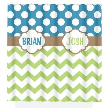 Brother SHOWER CURTAIN Boy Names Shared Bathroom Custom MONOGRAM Personalized Decor Polka Dot Chevron Bath Towel,  Bath Mat Made in Usa