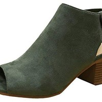 City Classified Womens Harlyn Cutout Peep Toe Stacked Chunky Heel Bootie