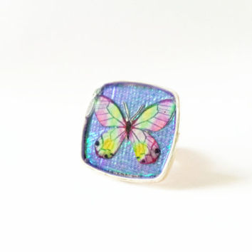 Butterfly Ring, Butterfly Jewelry, Butterfly Resin Ring, Holographic Ring, Holographic Butterfly Ring, Insect Ring, Butterfly Art RIng