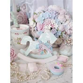 5D Diamond Painting Rocking Horse and Pearls Kit