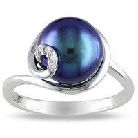 Miadora Sterling Silver Black FW Pearl Ring (9-10 mm) | Overstock.com