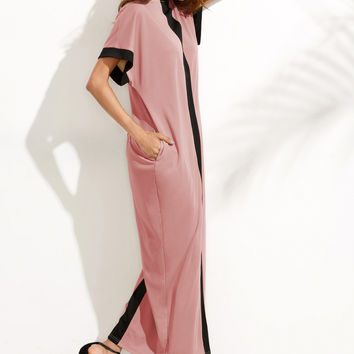 Pink Contrast Cocoon Full Length Dress