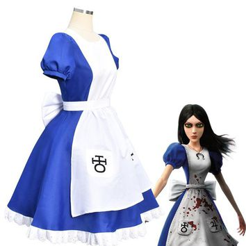 Alice Madness Returns Halloween Party Cosplay Dress Japanese Lolita Costumes Blue Maid Servant Dresses