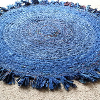 Braided Rag Rug, Cobalt Blue Boho Chic Rug, Round Circle, Area Floor Covering, Colorful Rugs, Baby Room or Photography Rug Props, Shag Rug