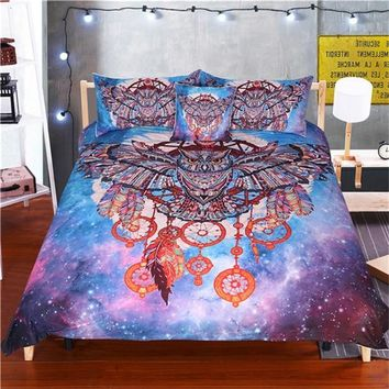 Owl Dream Catcher with Feathers Bedding Set