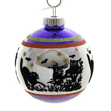 Shiny Brite HALLOWEEN SIGNATURE FLOCKED.. Glass Ornament Ball 4026976S F