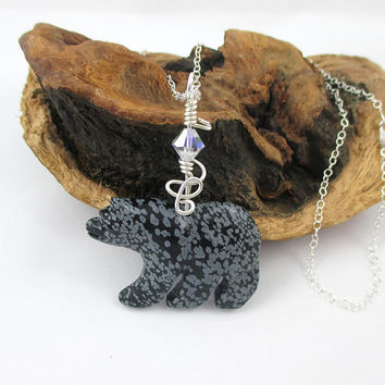 Bear Necklace, Sterling Silver, Black, White Obsidian, Polar Bear Pendant, Stone Animal Necklace, Snowflake, Nature Jewelry