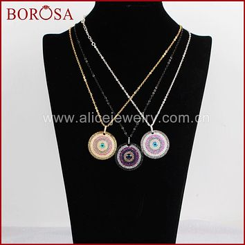 BOROSA 3pcs/lot Fashion Boho Evil Eye CZ Necklace for Women Boho Style Jewelry CZ Micro Pave Round Chain Necklace WX383-N