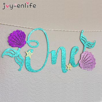 "JOY-ENLIFE 1set Glitter Blue Letters ""ONE"" Mermaid Purple Shell Garland Banner Baby Shower One Year Old Birthday Decor Supplies"