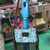 Turquoise dyed cowhide purse