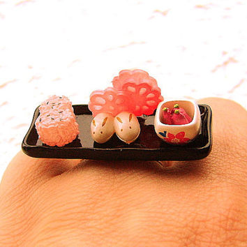 Japanese Food  Ring Miniature Food Jewelry Onigiri