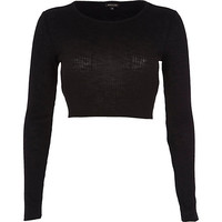 River Island Womens Black long sleeve crop top