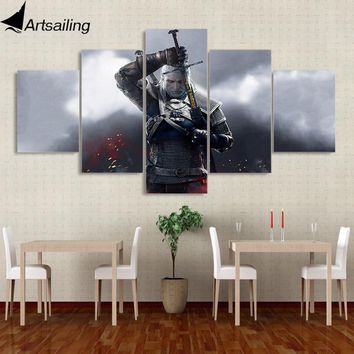 5 piece canvas painting the witcher 3 Sword of Destiny game poster canvas painting for living room free shipping XA2256B