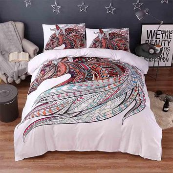 3d Animal White Bedding Sets Horse Print 3pcs Luxury Bed Cover Duvet Cover Comforter Queen King Twin Size Designer Bed Sheets